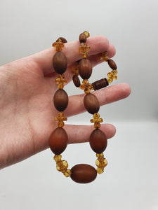 1930s Brown Galalith and Glass Necklace