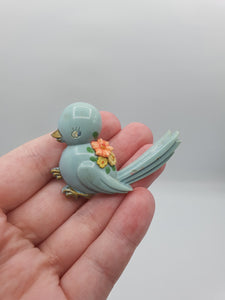 1940s Small Blue Bird Brooch With Flowers