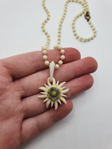 1940s Carved Edelweiss Necklace With Hand Knotted Chain