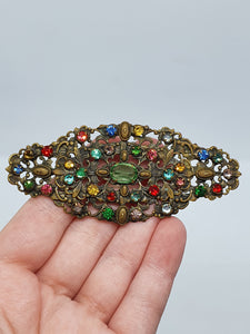 1930s HUGE Czech Glass and Filigree Brooch