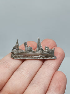 1940s Silver Tone Boat/Ship Brooch Made By Page Plymouth