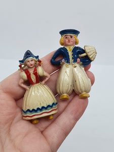 1940s Celluloid Dutch Girl and Boy Brooches
