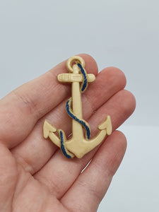 1940s Celluloid Cream and Navy Anchor Brooch