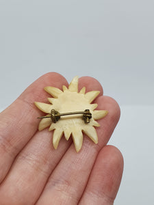 1940s Cream Edelweiss Carved Brooch