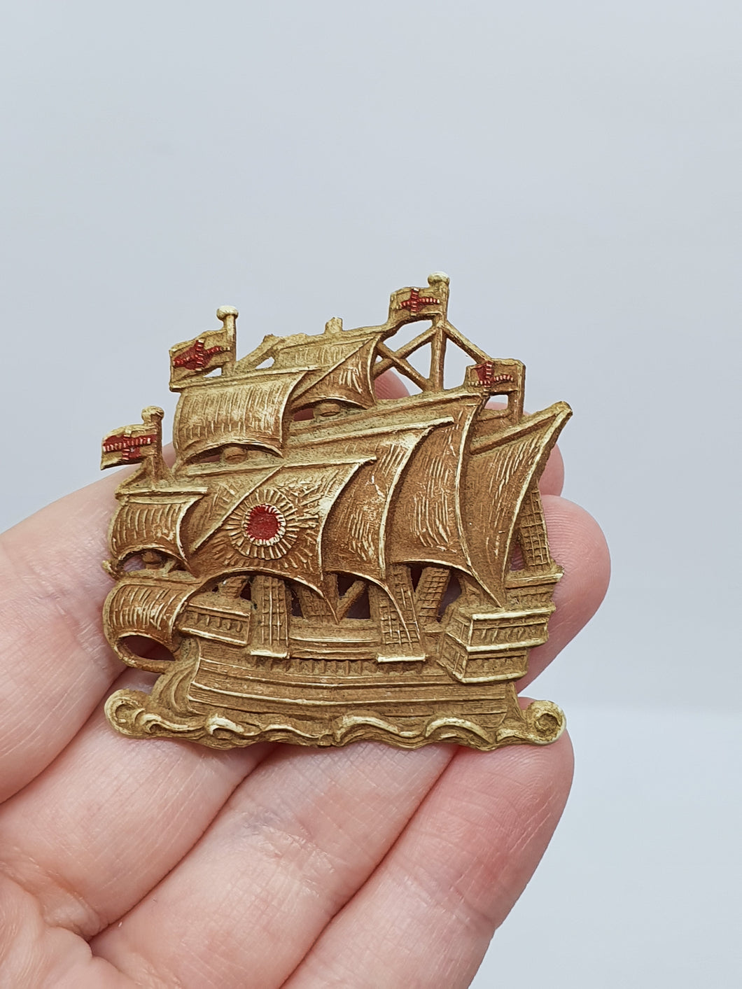 1940s Plastic Brown/Beige and Red Galleon Ship Brooch