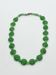 1930s Beautiful Jade Green Glass Necklace
