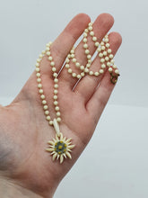 Load image into Gallery viewer, 1940s Carved Edelweiss Necklace With Hand Knotted Chain