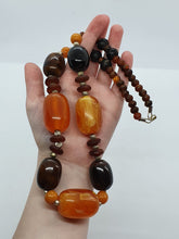 Load image into Gallery viewer, 1950s Huge Chunky Orange/Brown and Black Marbled Necklace