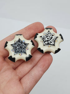 1950s Huge Black and White Lucite Star Clip Earrings