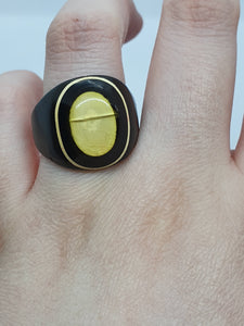 1930s/1940s Celluloid Black and White Plain Prison Ring