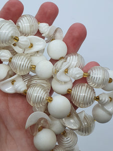1950s German White Plastic Double Strand Necklace