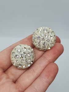 1950s White Sparkly Clip Earrings