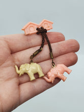 Load image into Gallery viewer, 1940s Rare Pink and Cream Dangly Celluloid Elephant Brooch