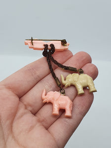 1940s Rare Pink and Cream Dangly Celluloid Elephant Brooch