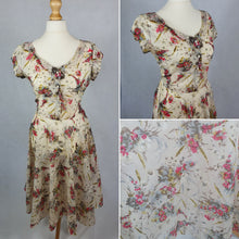 Load image into Gallery viewer, 1940s/1950s Sheer Unusual Material Dress With Green and Pink Flower Pattern