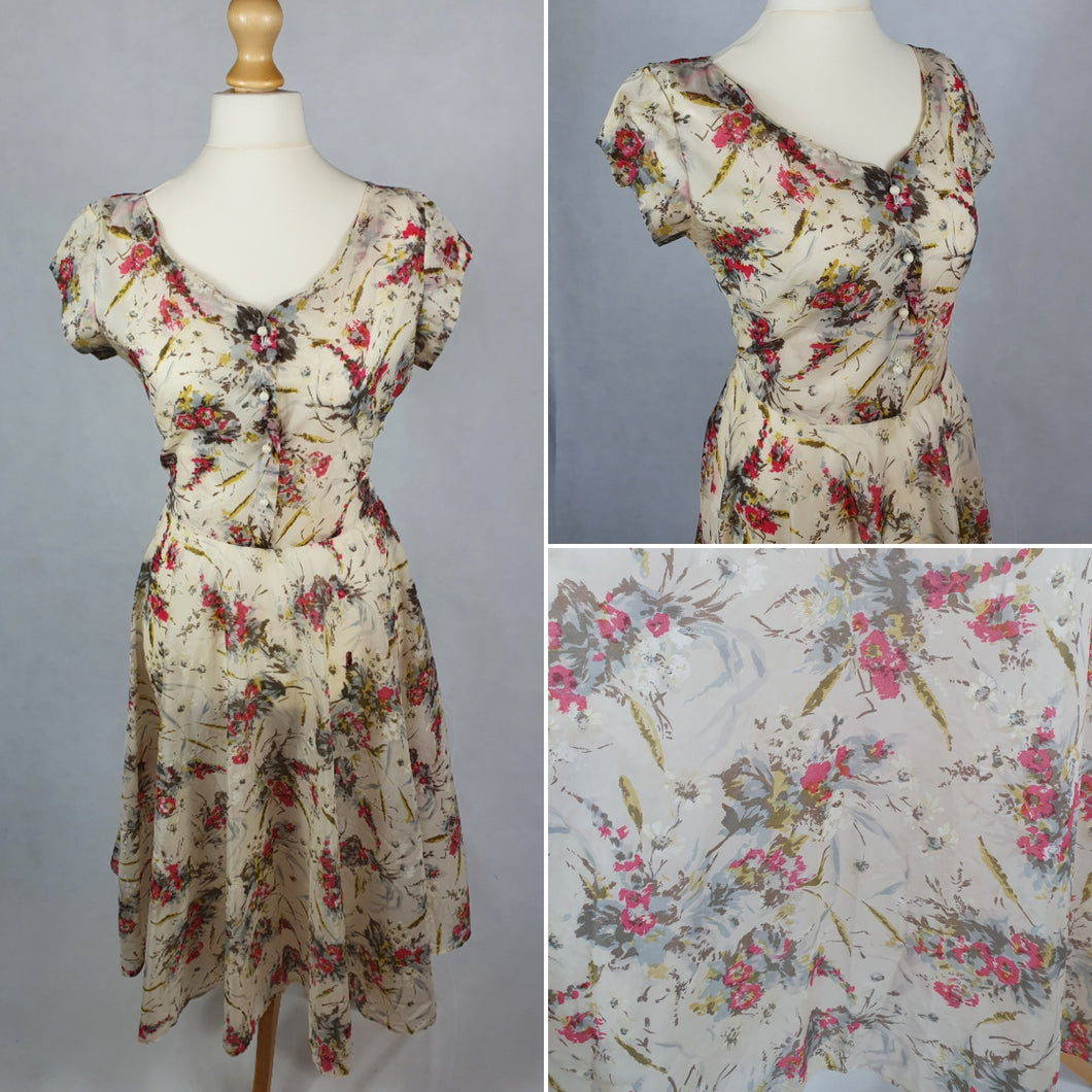 1940s/1950s Sheer Unusual Material Dress With Green and Pink Flower Pattern