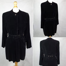 Load image into Gallery viewer, 1940s AMAZING Black Thick Velvet Swing Jacket/Coat With Huge Belt and Studs