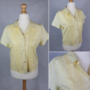 1950s VOLUP Buttermilk Yellow Blouse With Lace Detail