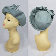 Load image into Gallery viewer, 1940s Gorgeous Duck Egg Blue Hat With Ruffles