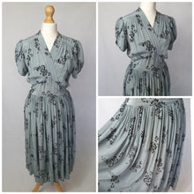 Load image into Gallery viewer, 1940s Duck Egg Blue Dress With Beautiful Velvet Details and Sleeves