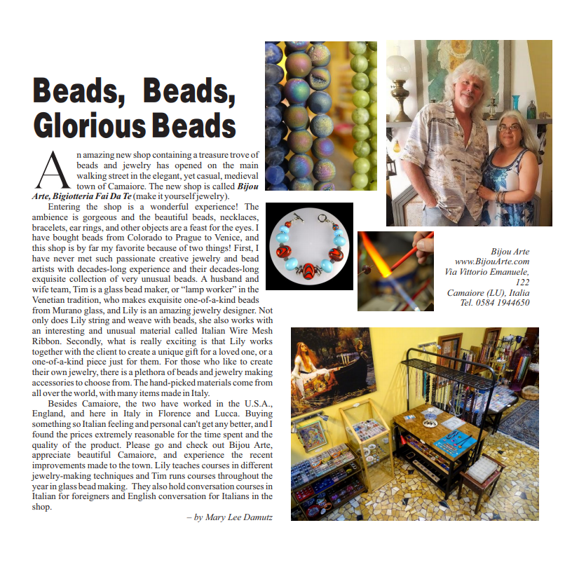 Lucca Grapevine Article On Lily, Tim & Bijou Arte