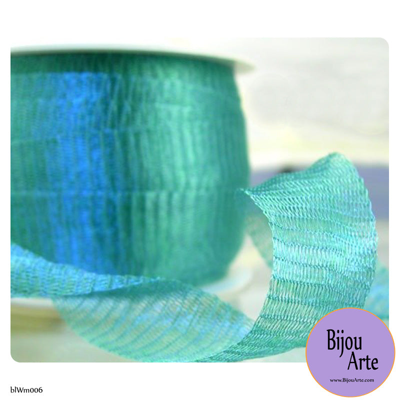 Italian Tubular Wire Mesh Ribbon - Patina Blue (20mm)
