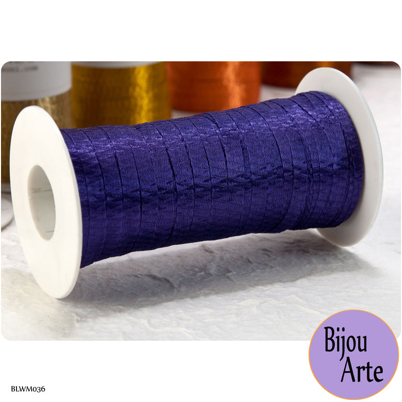 Italian Tubular Wire Mesh Ribbon - Vibrant Purple (6mm)