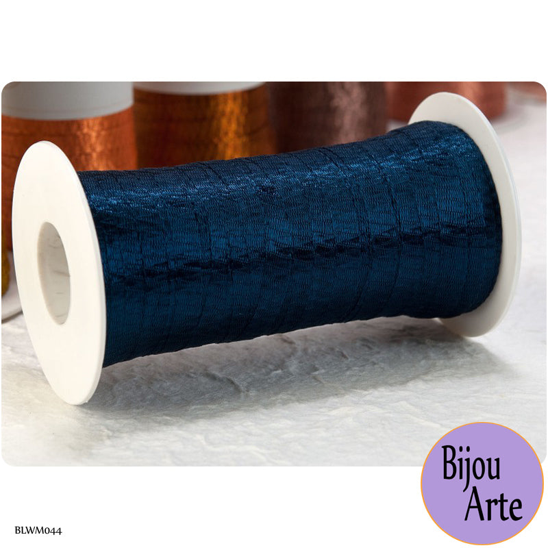 Italian Tubular Wire Mesh Ribbon - Midnight Blue (6mm)