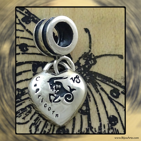 "Sterling Silver ""Pandora-style"" Astrological Charm: CAPRICORN"