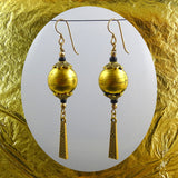 Enchanting Elegance Earrings: Our Own Handmade Glass Beads w/ Gold Leaf