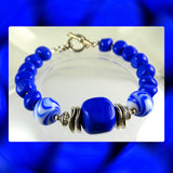 Artisan Bracelet w/ Our Own Handmade Lampwork Beads: Lapis