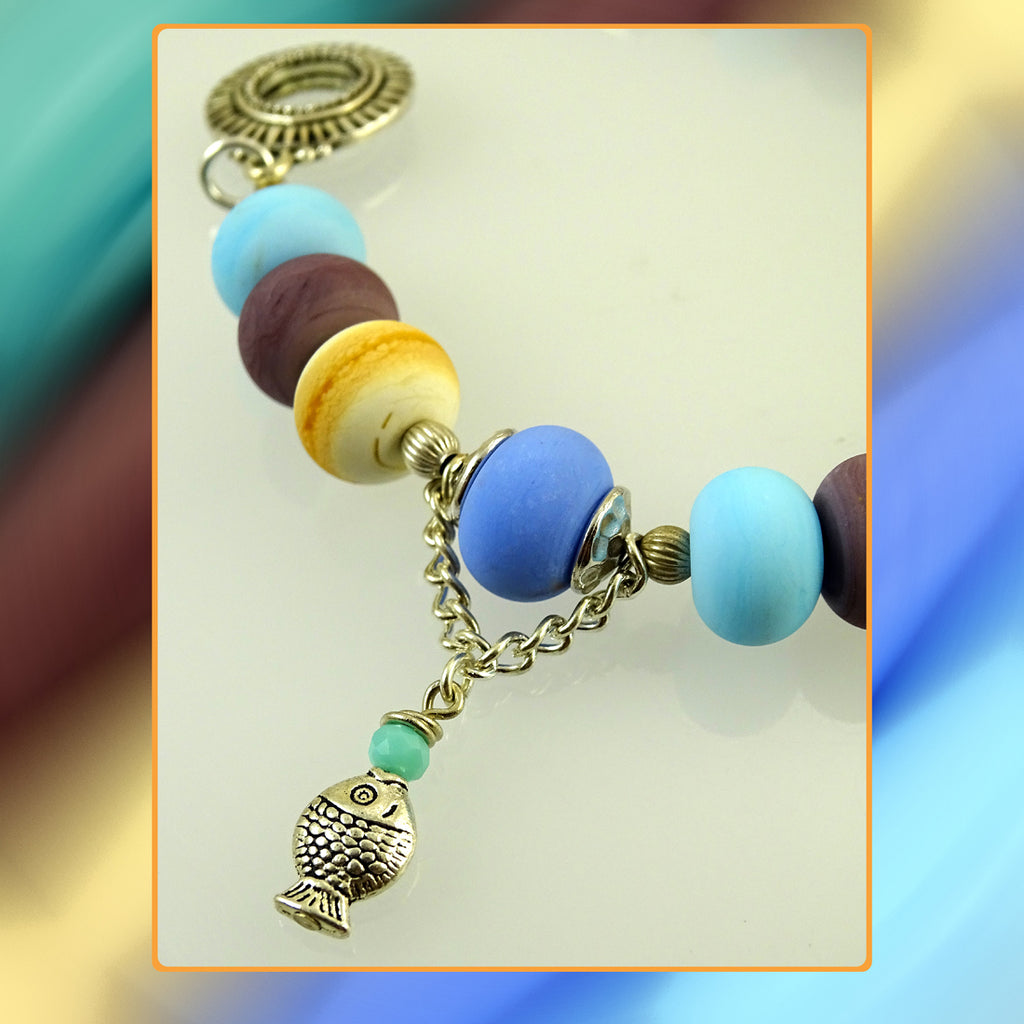 Pebbled Beach Bracelet Featuring Our Own Handmade Beads