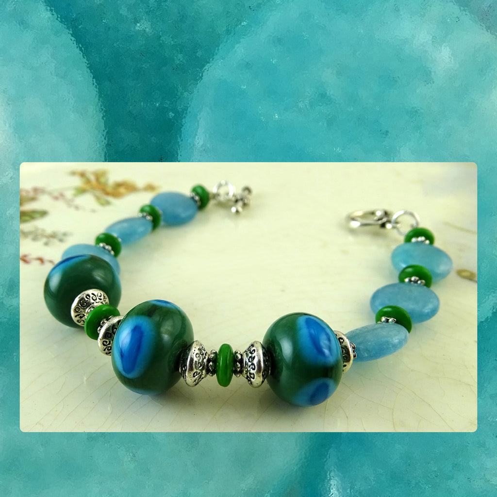 Bracelet w/ Our Own Handmade Lampwork Beads & Blue Sponge Quartz