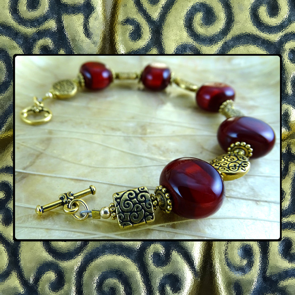 Shabby Chic Bracelet w/ Our Own Handmade Glass Beads