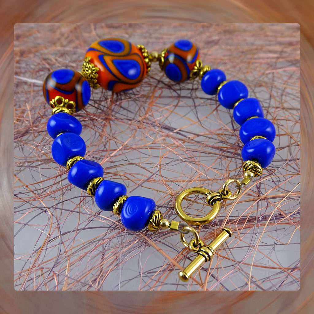Beaded Bracelet w/ Our Own Handmade Glass Beads