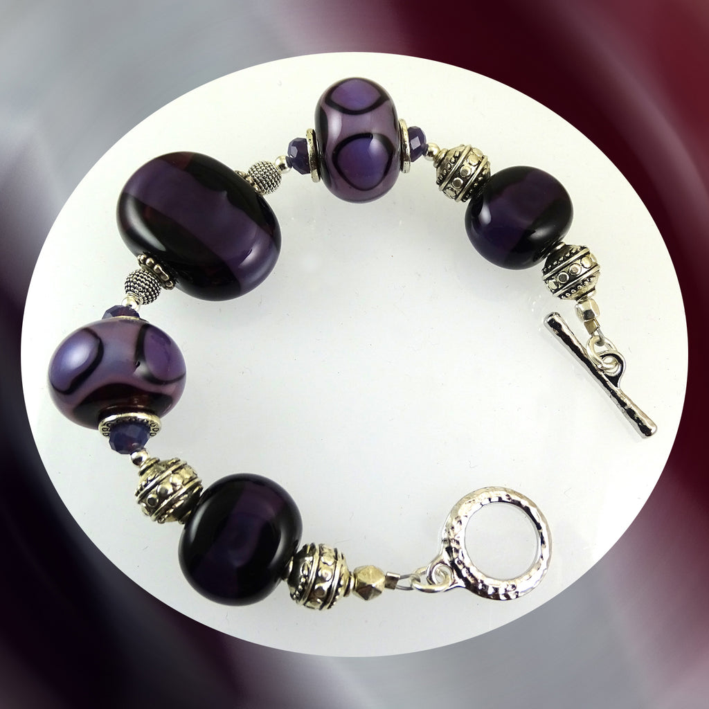 Beaded Bracelet w/ Our Own Handmade Glass Beads & Sterling Silver Accents