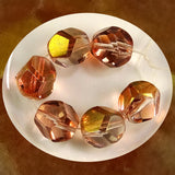 Faceted Nuggets - 12x10mm- Trans. Copper-Crystal Luster