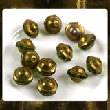Czech Glass Beads: Saturn Beads - Olive/Ant. Gold - 9 x 8mm (Bag of 12)