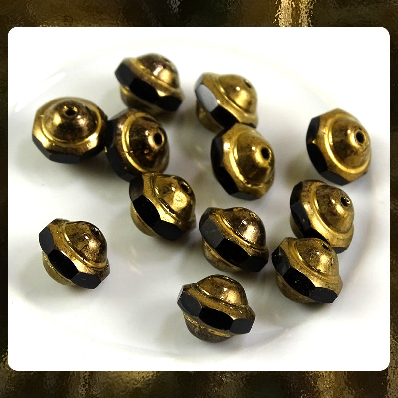 Czech Glass Beads: Saturn Beads - Jet/Ant. Gold - 9 x 8mm (Bag of 12)