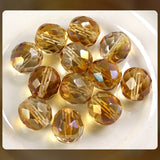 Czech Glass Beads: Trans. Champagne Luster, Faceted Round, 10mm (Bag of 12)