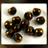 Czech Glass Beads: Jet/Ant. Gold Luster Window Beads - 8mm (Bag of 12)