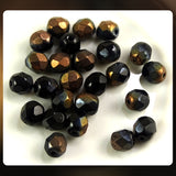 Czech Glass Beads: Jet with Bronze and Gunmetal Luster Mix, Faceted Round, 6mm (Vintage) (Bag of 25)
