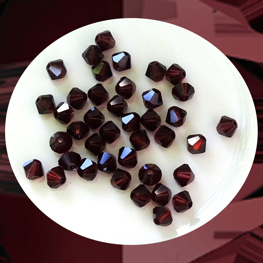 Swarovski 5328 Xilion Beads: 4mm Bi-cone / Pack of 40 / Burgundy