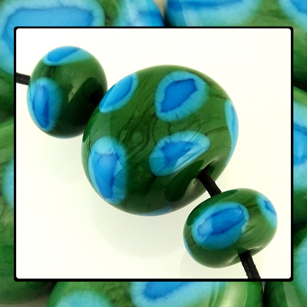 Handmade Glass Bead Set: Greens & Blues (3 Lampwork Beads)