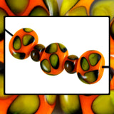 Handmade Glass Bead Set: Hollow Flat Ovals (5 Lampwork Beads)