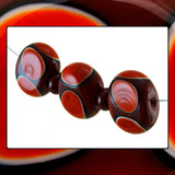 Handmade Glass Hollow Core Bead Set: REDS -3 Flat Ovals w/ Spacers (5 Lampwork Beads)