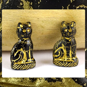 Gilded Black Cat Beads (Bag of 2 beads)