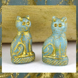 Czech Glass Beads: Gilded Turquoise Cat (Bag of 2 beads)