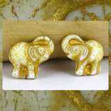 Czech Glass Beads: Gilded Matte White Elephants (Bag of 2 beads)