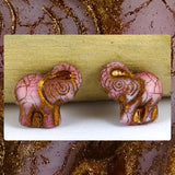 Czech Glass Beads: Gilded Matte Pink Elephants (Bag of 2 beads)